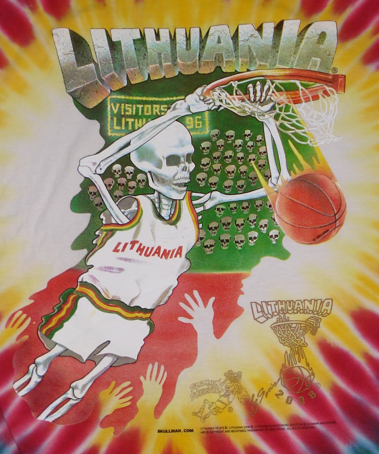 Skullman Lithuania Basketball Tie Dyed T Shirt 1992 Barcelona Olympic